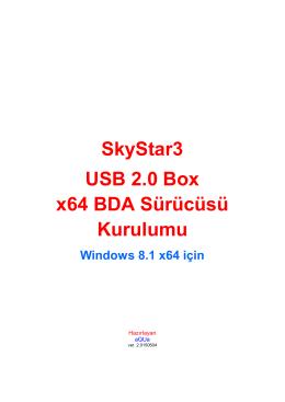 SkyStar3 USB 2.0 Box x64 BDA Sürücüsü Kurulumu