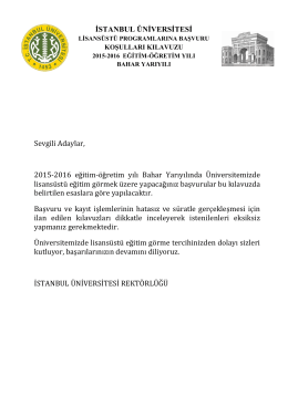Sevgili Adaylar, 2015-2016 eğitim-öğretim yılı Bahar Yarıyılında