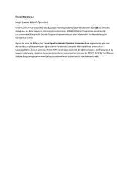 Önemli Hatırlatma Sevgili İşletme Bölümü Öğrencileri, MNO 4235