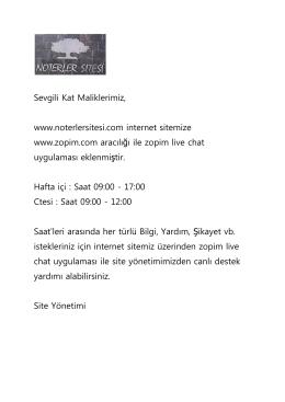 Sevgili Kat Maliklerimiz, www.noterlersitesi.com internet sitemize
