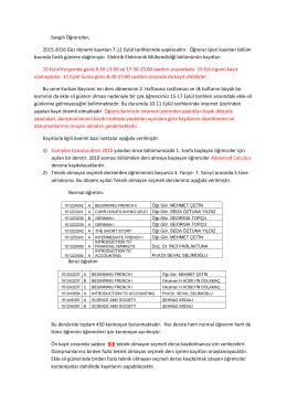 Sevgili Öğrenciler, 2015-2016 Güz dönemi kayıtları 7