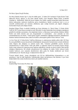 16 Mart 2015 Pro Bono Ağının Sevgili Dostları, Pro Bono Hukuki