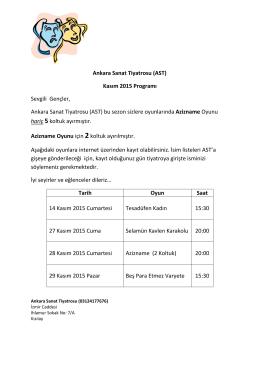 Ankara Sanat Tiyatrosu (AST) Kasım 2015 Programı Sevgili Gençler