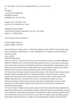 T.C. İSTANBUL 1. SULH CEZA HÂKİMLİĞİD. İş. No : 2015/3101 D.İş