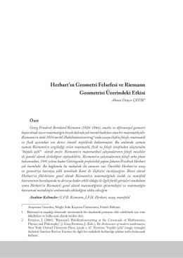 Herbart`ın Geometri Felsefesi ve Riemann Geometrisi Üzerindeki Etkisi