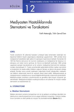 Bölüm 12 - Mediyasten Hastalıklarında Sternotomi ve Torakotomi