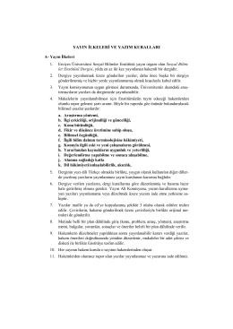 yayın ilkeleri ve yazım kuralları