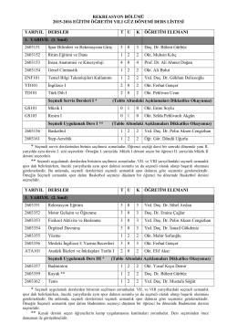 2015-2016 Öğretim Yılı Güz Dönemi Rekreasyon Bölümü Ders Listesi