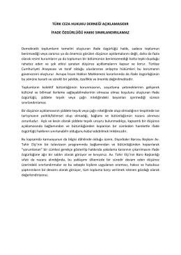 türk ceza hukuku derneği açıklamasıdır ifade özgürlüğü hakkı