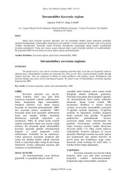 İntramedüller Kavernöz Anjiom - Düzce Üniversitesi Tıp Fakültesi
