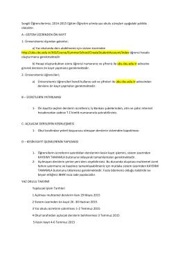 2014-2015 eğitim öğretim yılı yaz okulu ilanı