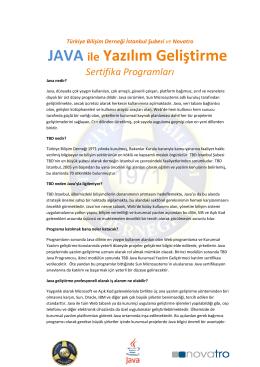 JAVA ile Yazılım Geliştirme