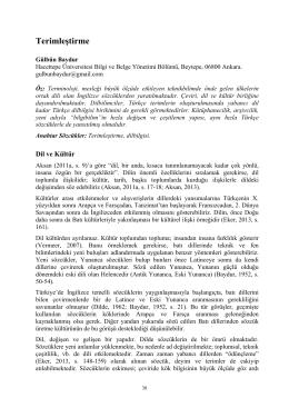 Terimleştirme - Hacettepe Üniversitesi Bilgi ve Belge Yönetimi Bölümü