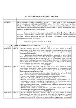 BELEDİYE TRAFİK KOMİSYON RAPORLARI 01/04/2015 17 2015