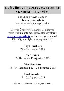 2014-2015 - yaz okulu akademik takvimi
