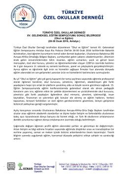 türkiye özel okullar derneği - xv. geleneksel eğitim sempozyumu
