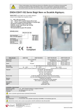 ENDA ESHT-102 Serisi Bağıl Nem ve Sıcaklık Algılayıcı.