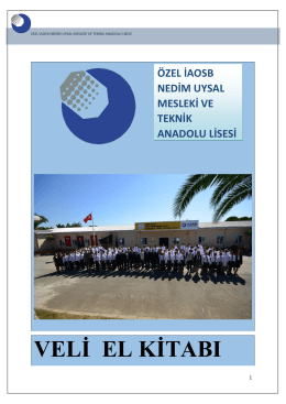 veli el kitabı - Özel İAOSB Nedim Uysal Mesleki ve Teknik Anadolu
