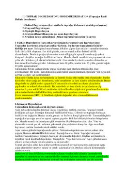 III-TOPRAK DEGREDASYONU-BODENDEGREDATION (Toprağın