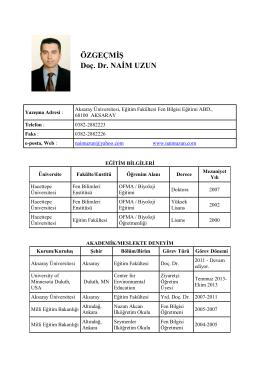 ÖZGEÇMİŞ Doç. Dr. NAİM UZUN