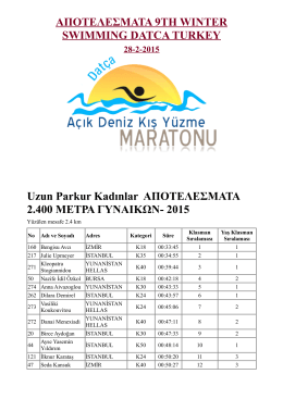 ΑΠΟΤΕΛΕΣΜΑΤΑ 9TH WINTER SWIMMING DATCA TURKEY Uzun