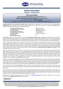JCR-ER, Timur Gayrimenkul Geliştirme Yapı ve Yatırım A.Ş.