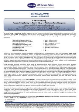 JCR-ER, Plaspak Kimya Sanayi ve Ticaret A.Ş.