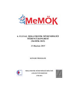MeMÖK2015 Kongre Programı - 6. Ulusal Mekatronik Mühendisliği