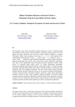 Bilişim Teknolojileri Öğretmen Adaylarının E-Kitap ve