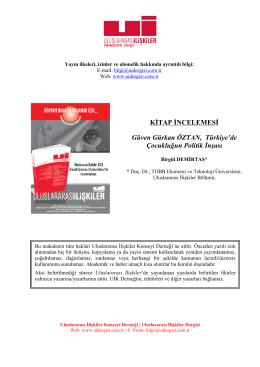 KİTAP İNCELEMESİ Güven Gürkan ÖZTAN, Türkiye`de Çocukluğun
