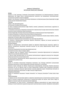 Yönerge - Kırıkkale Üniversitesi