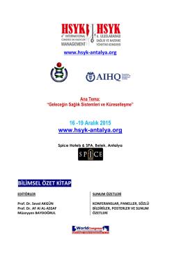 16 -19 Aralık 2015 www.hsyk-antalya.org BİLİMSEL ÖZET KİTAP
