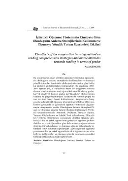İşbirlikli Öğrenme Yönteminin Cinsiyete Göre Okuduğunu Anlama