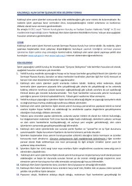 Kaldıraçlı Alım Satım İşlemleri Risk Bildirim Formu