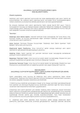 Kaldıraçlı Varlık Alım Satım İşlemleri Risk Bildirim Formu