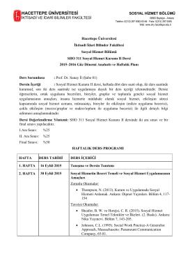 Prof. Dr. Sunay İl - Sosyal Hizmetler