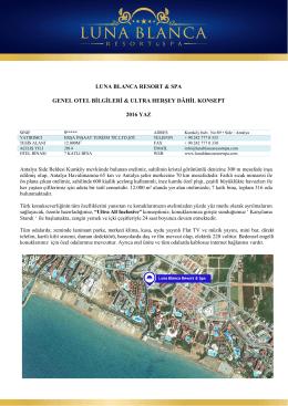 luna blanca resort & spa genel otel bilgileri & ultra herşey dâhil