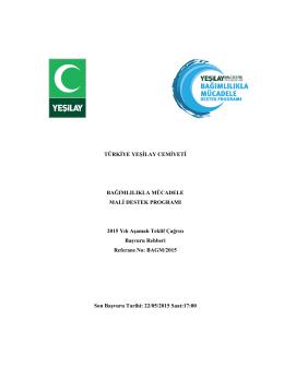 yeşilay başvuru rehberi - Ulusal ve Uluslararası Araştırma Proje