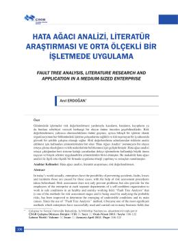hata ağacı analizi, literatür araştırması ve orta ölçekli bir işletmede