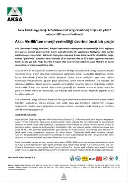 Aksa Akrilik`ten enerji verimliliği üzerine öncü bir proje