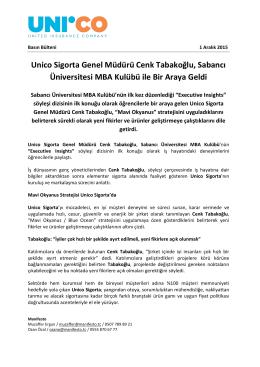 Unico Sigorta Genel Müdürü Cenk Tabakoğlu, Sabancı Üniversitesi