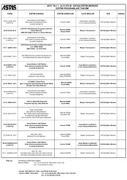 Astaş Eğitim Merkezi Eğitim Programları Takvimi