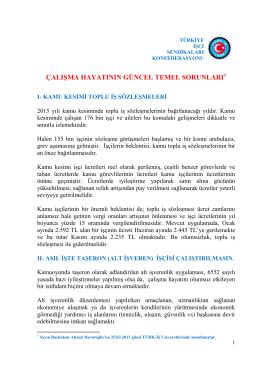 çalışma hayatının güncel temel sorunları1 - Türk-İş