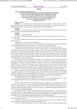 Türk Gıda Kodeksi Belirli Gıdalarda Dioksinlerin, Dioksin Benzeri