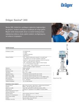 Teknik bilgiler: Dräger Savina® 300