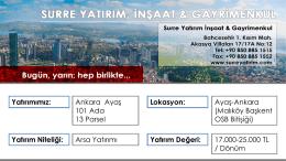 Ankara 101 Ada 13 Parsel - Surre Yatırım, İnşaat & Gayrimenkul