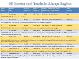 Routes and Tracks in Alanya Region