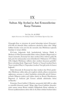 Sultan Alp Arslan`ın Ani Ermenilerine Karşı Tutumu