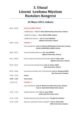 3. Ulusal Lösemi Lenfoma Miyelom Hastaları Kongresi 16 Mayıs
