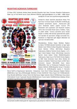 muaythai açıkhava turnuvası - Türkiye Muaythai Federasyonu